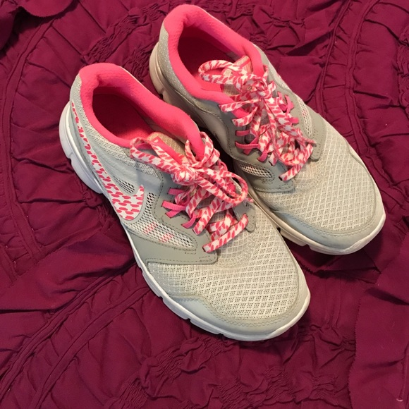 Adorable white and pink Nikes